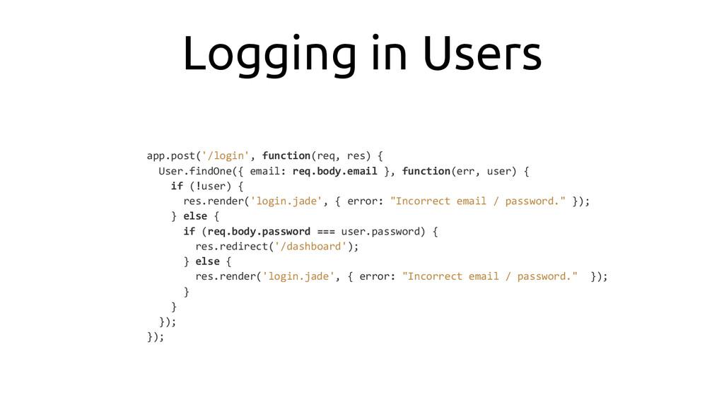 Logging in Users app.post('/login', function(re...
