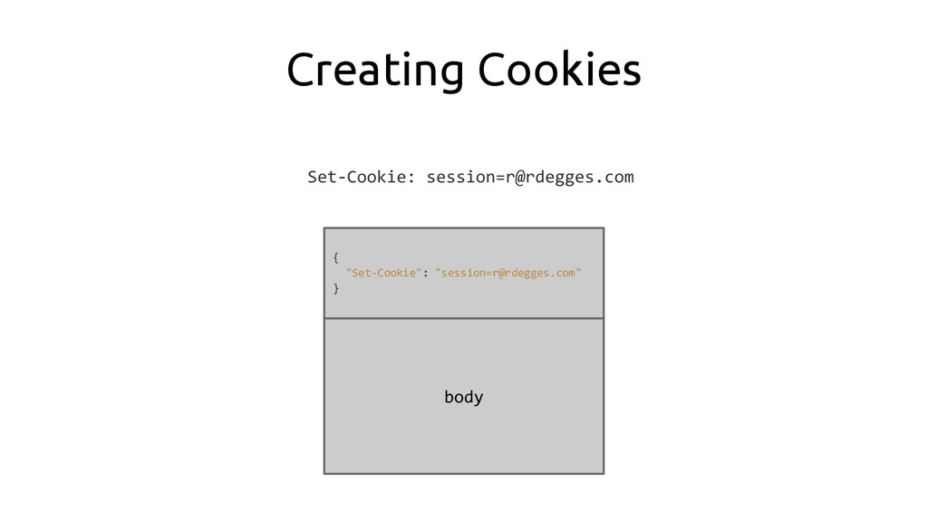 Creating Cookies Set-Cookie: session=r@rdegges....