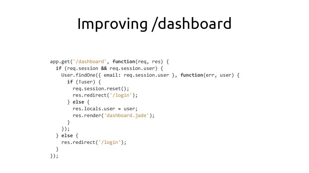 Improving /dashboard app.get('/dashboard', func...