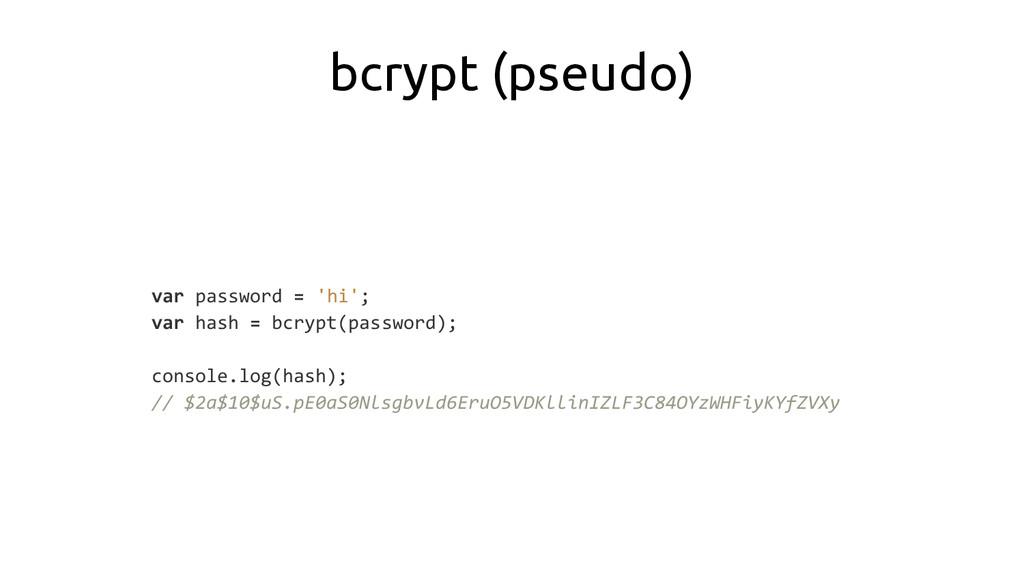 bcrypt (pseudo) var password = 'hi'; var hash =...
