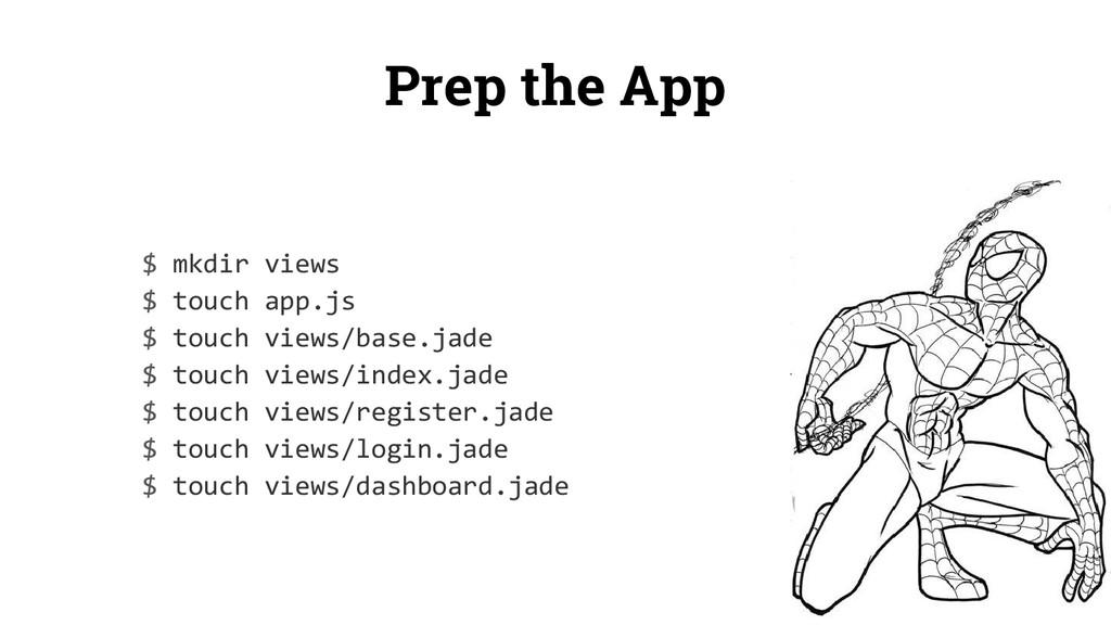 Prep the App $ mkdir views $ touch app.js $ tou...