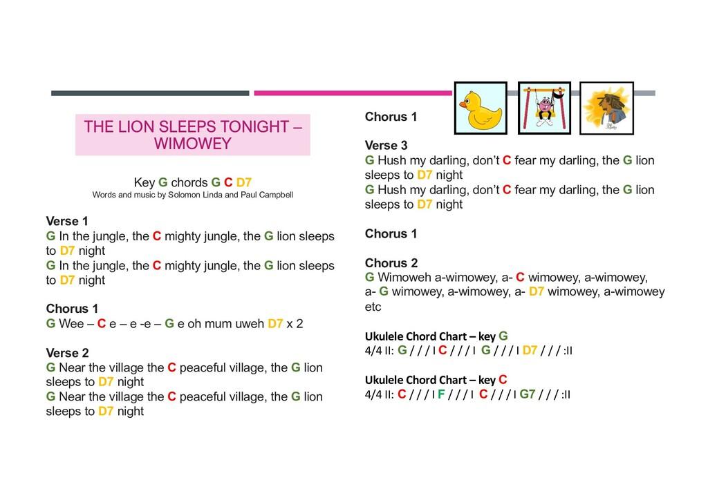 THE LION SLEEPS TONIGHT – WIMOWEY Key G chords ...