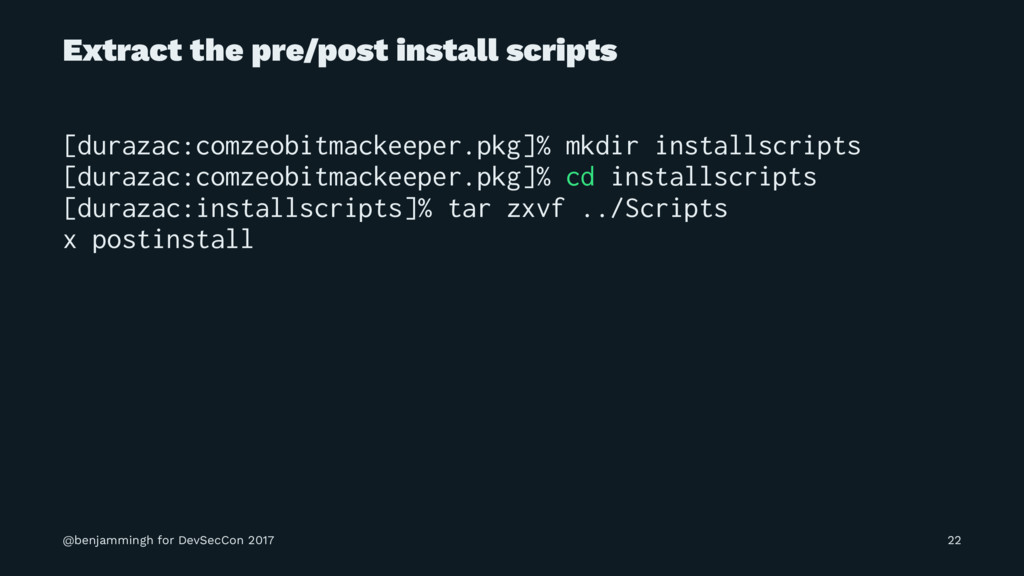 Extract the pre/post install scripts [durazac:c...
