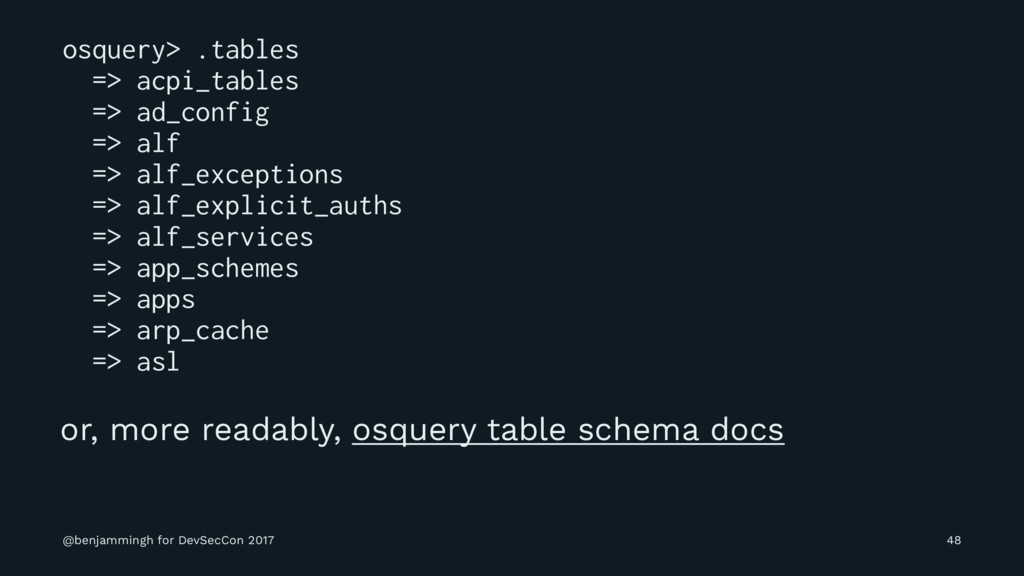 osquery> .tables => acpi_tables => ad_config =>...