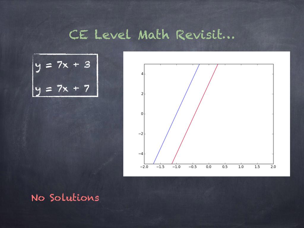 CE Level Math Revisit… y = 7x + 3 y = 7x + 7 No...