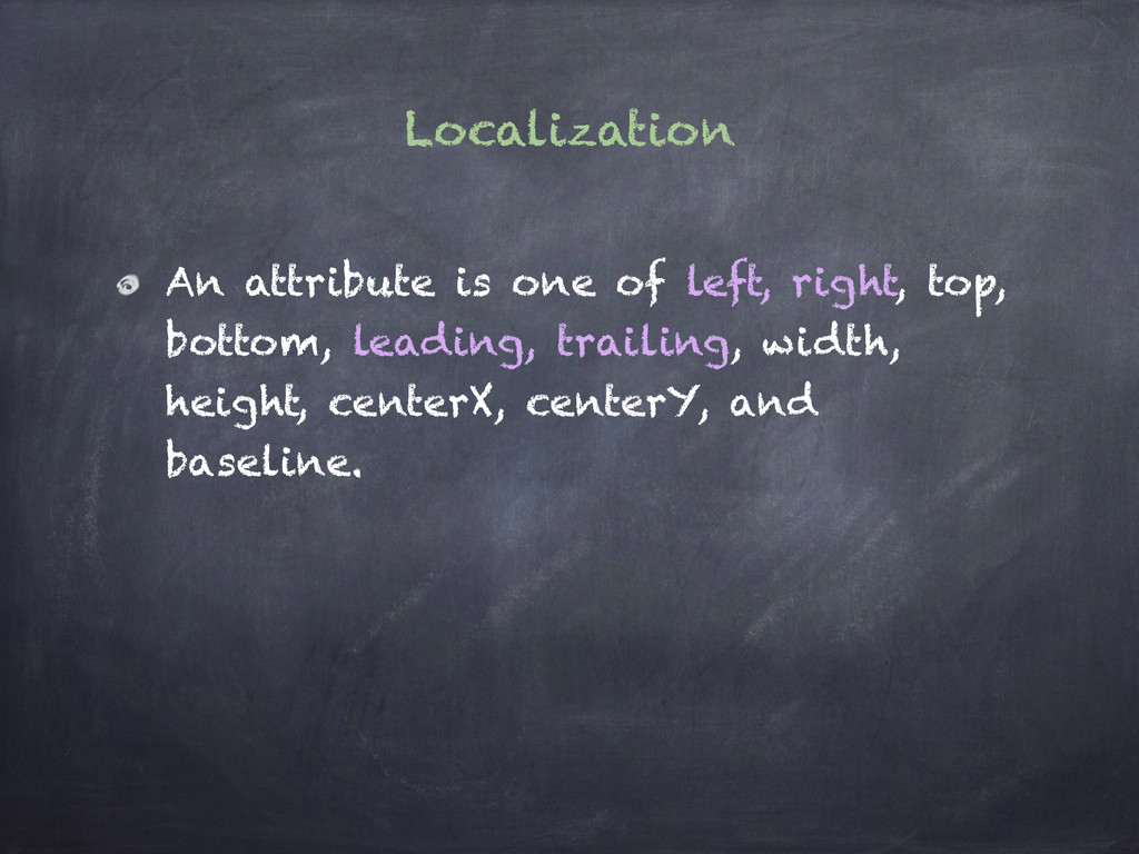 Localization An attribute is one of left, right...