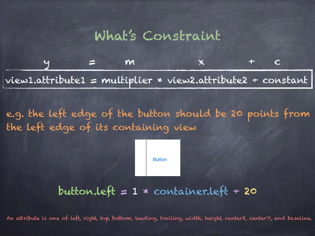 What's Constraint view1.attribute1 = multiplier...