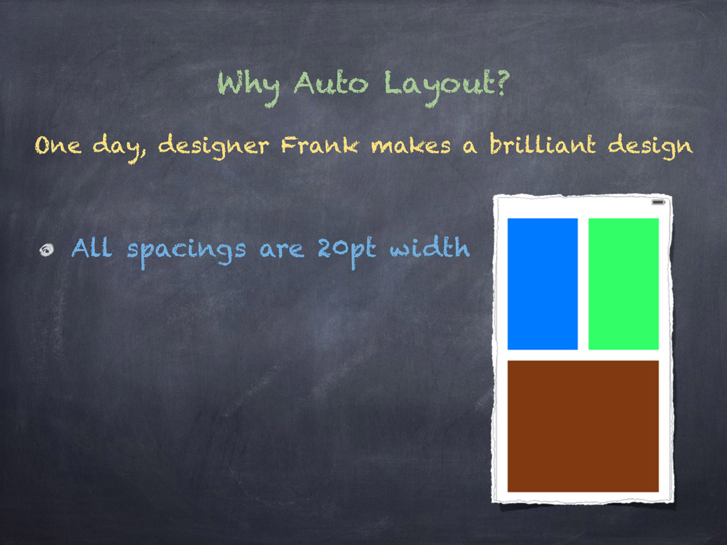 Why Auto Layout? One day, designer Frank makes ...