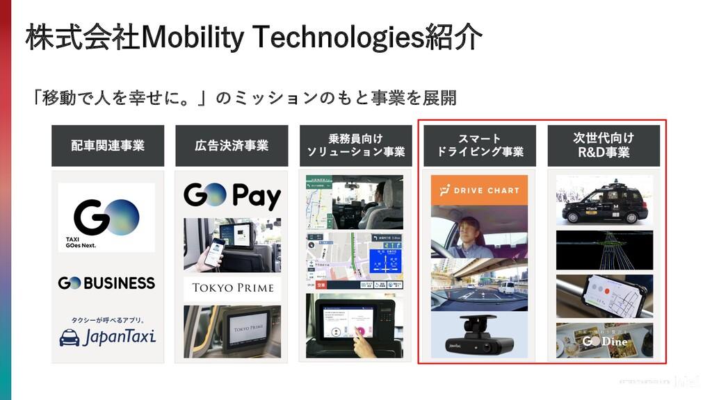 株式会社Mobility Technologies紹介 「移動で⼈を幸せに。」のミッションのも...