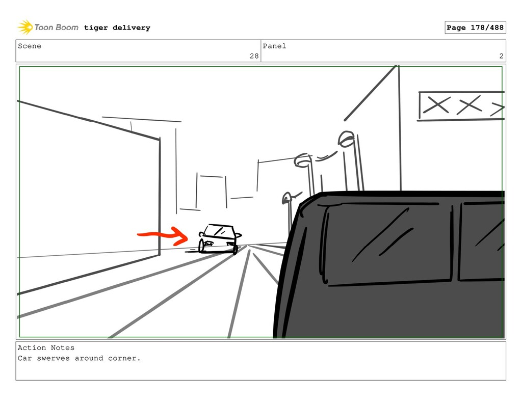 Scene 28 Panel 2 Action Notes Car swerves aroun...