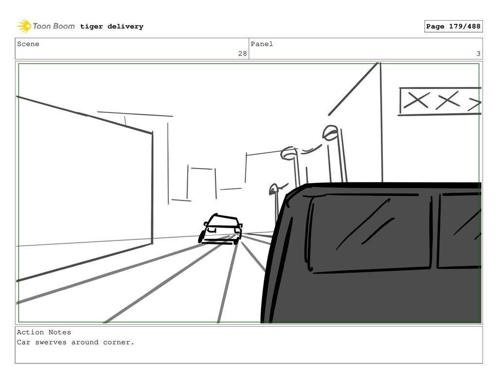 Scene 28 Panel 3 Action Notes Car swerves aroun...