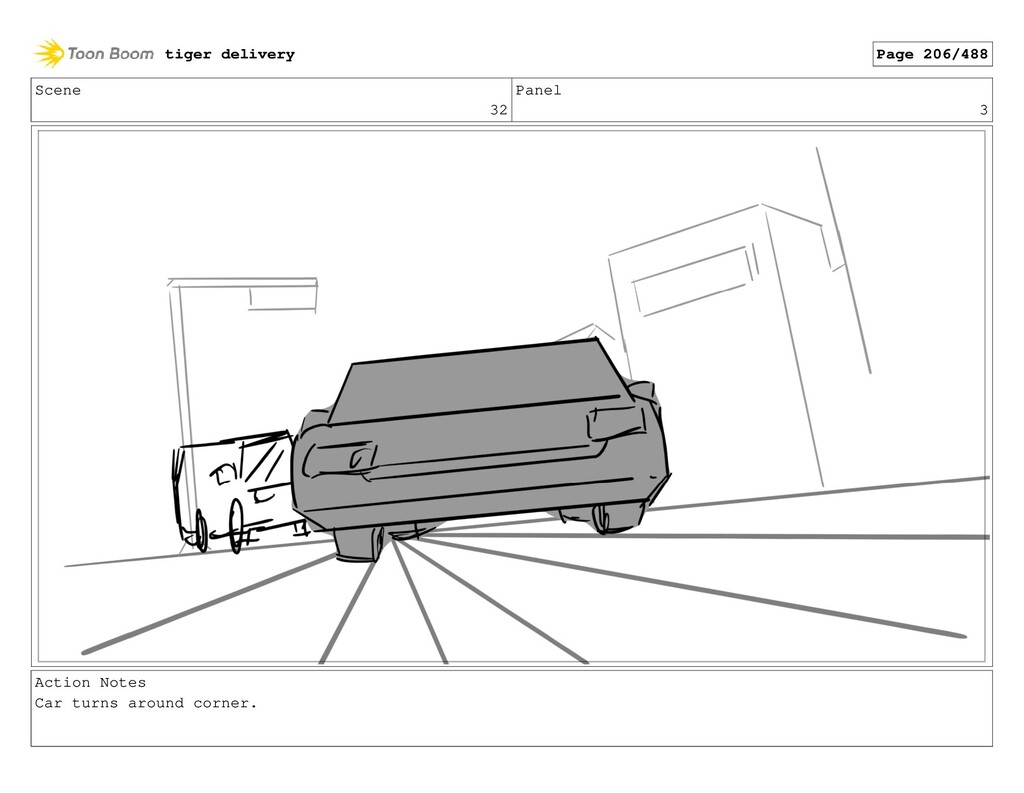 Scene 32 Panel 3 Action Notes Car turns around ...