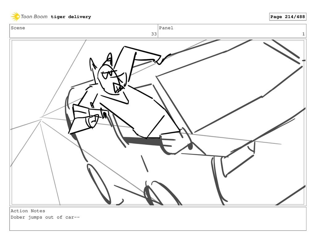 Scene 33 Panel 1 Action Notes Dober jumps out o...