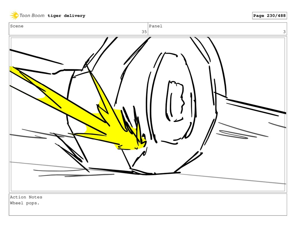Scene 35 Panel 3 Action Notes Wheel pops. tiger...
