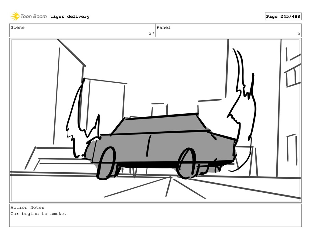 Scene 37 Panel 5 Action Notes Car begins to smo...