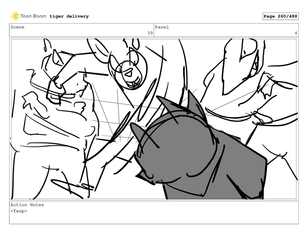 Scene 39 Panel 4 Action Notes <fwup> tiger deli...
