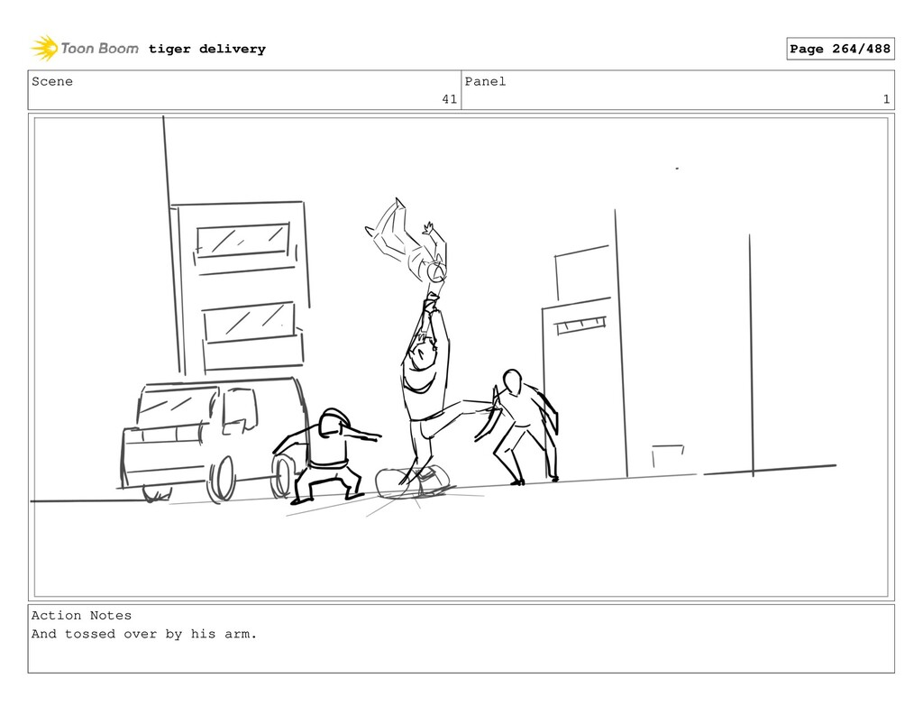Scene 41 Panel 1 Action Notes And tossed over b...