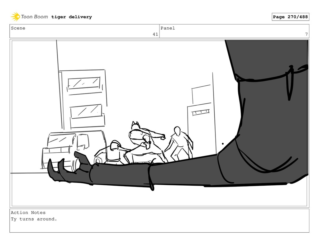 Scene 41 Panel 7 Action Notes Ty turns around. ...