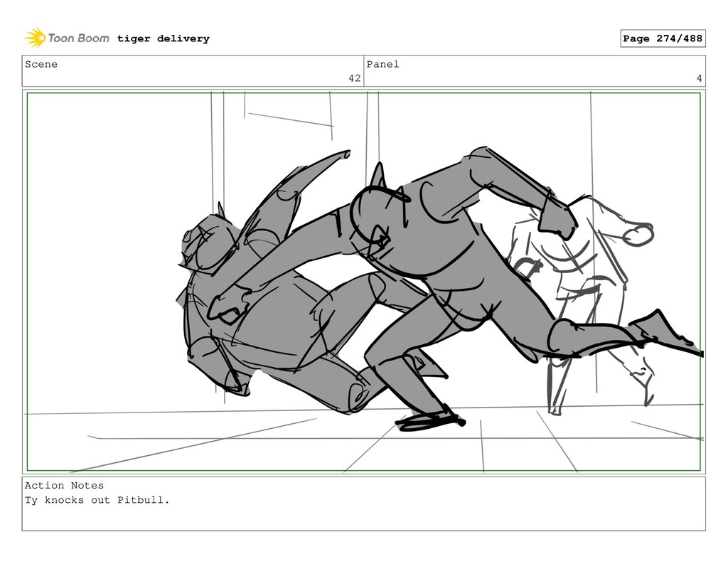 Scene 42 Panel 4 Action Notes Ty knocks out Pit...
