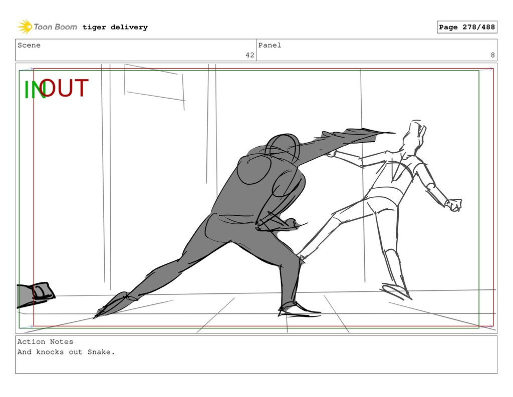 Scene 42 Panel 8 Action Notes And knocks out Sn...