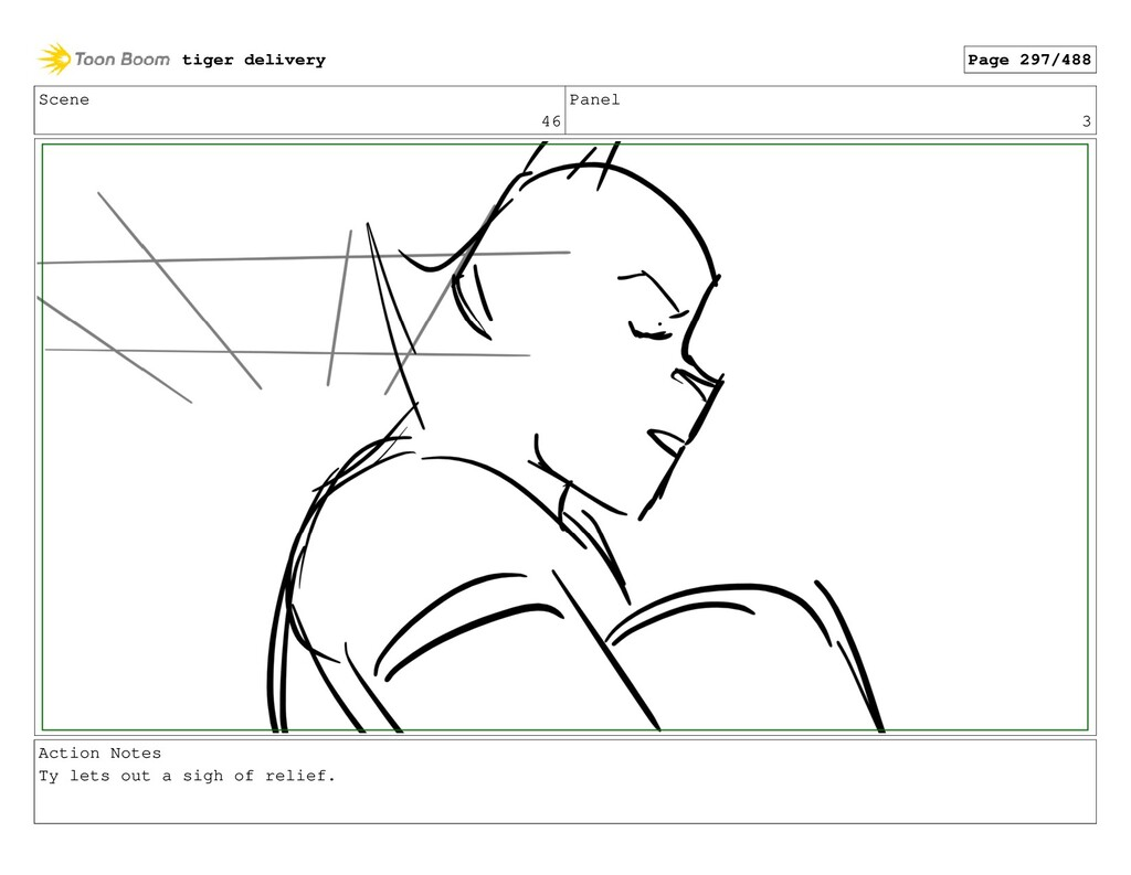 Scene 46 Panel 3 Action Notes Ty lets out a sig...