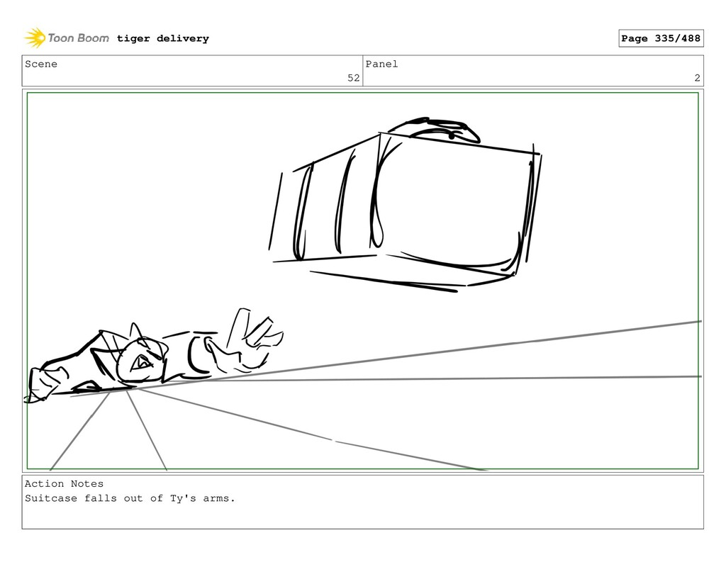 Scene 52 Panel 2 Action Notes Suitcase falls ou...