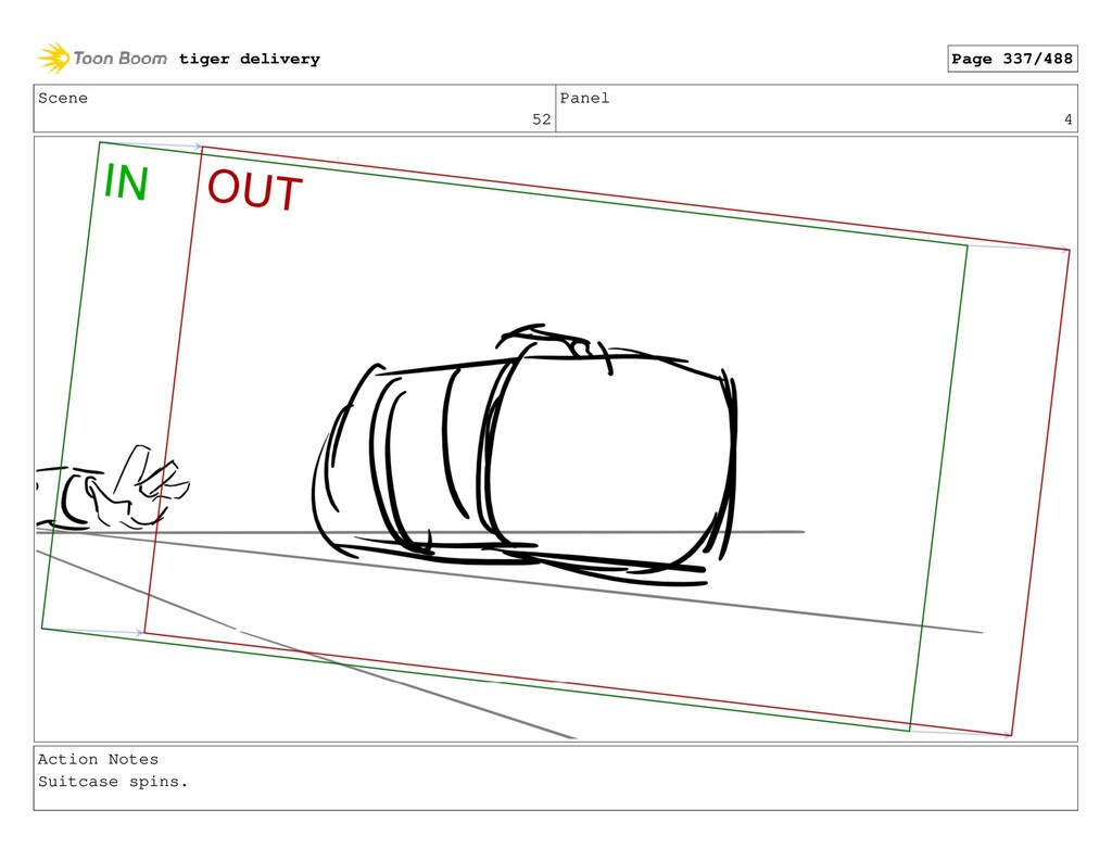 Scene 52 Panel 4 Action Notes Suitcase spins. t...