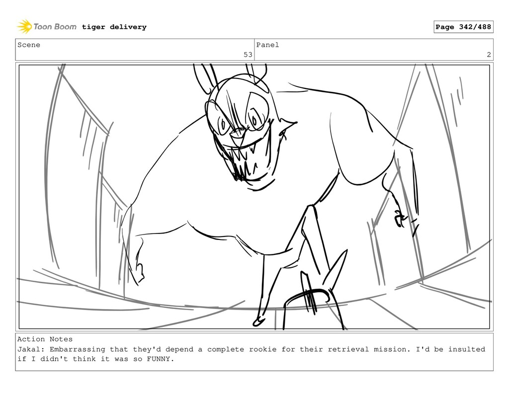 Scene 53 Panel 2 Action Notes Jakal: Embarrassi...