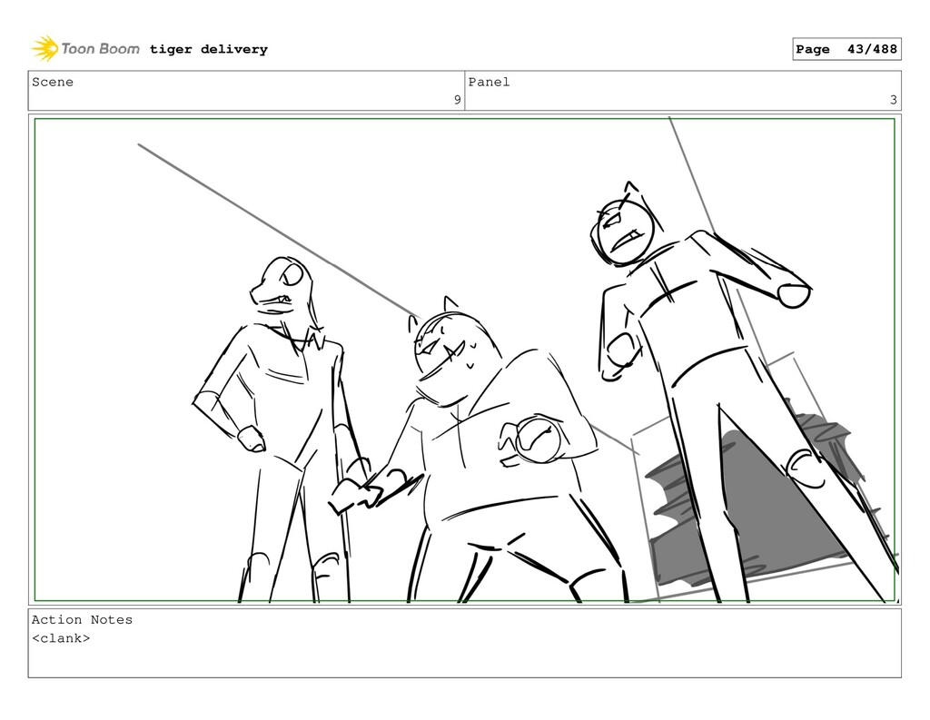 Scene 9 Panel 3 Action Notes <clank> tiger deli...