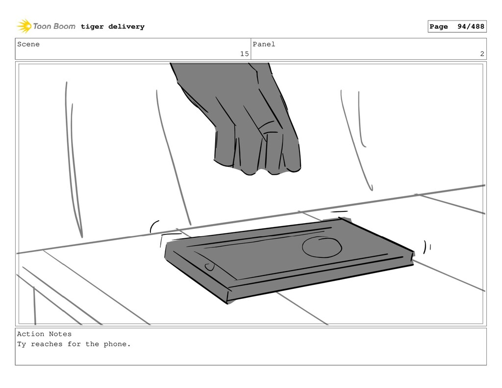 Scene 15 Panel 2 Action Notes Ty reaches for th...