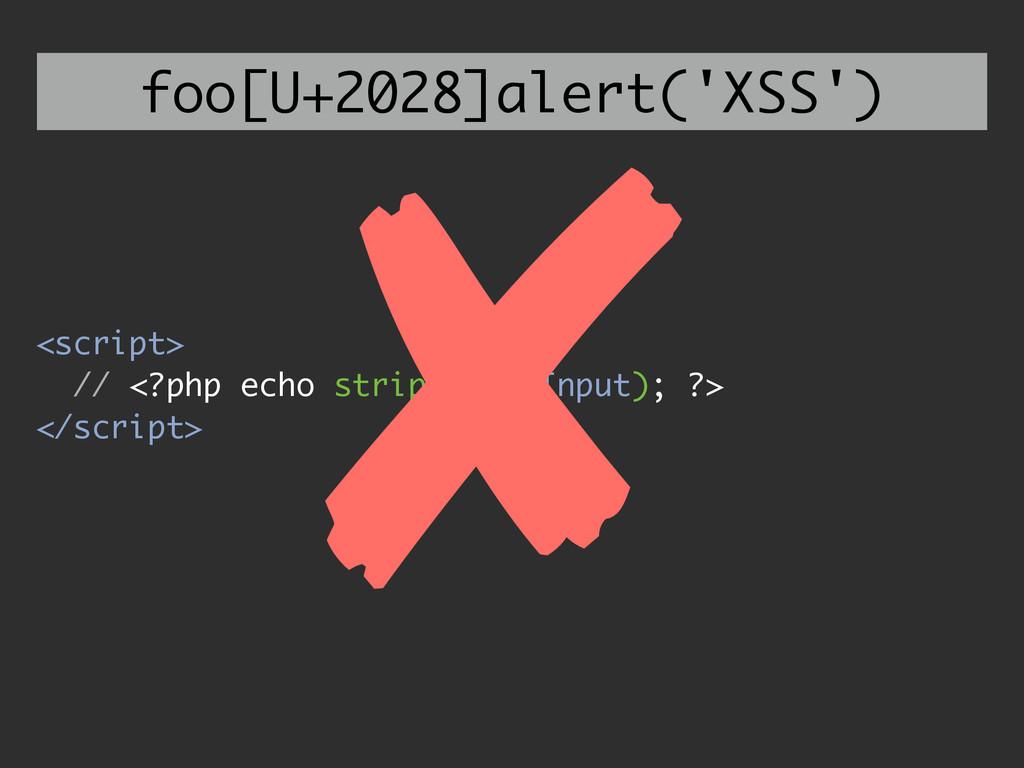 <script> // <?php echo strip($userInput); ?> </...