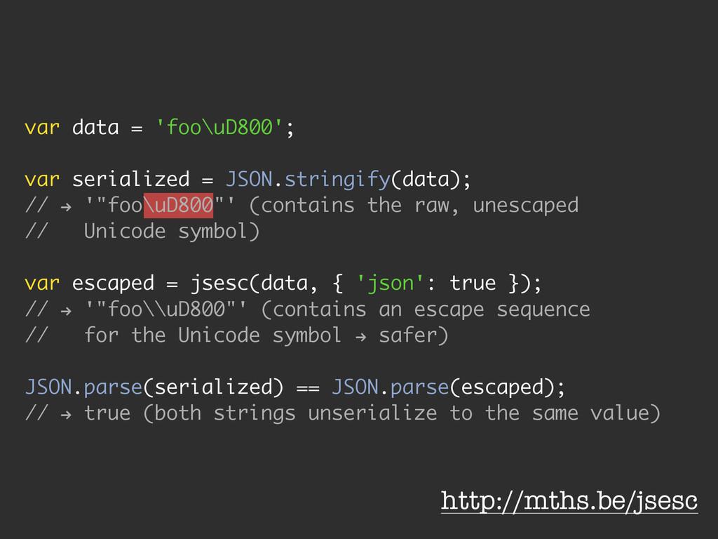 var data = 'foo\uD800'; ! var serialized = JSON...