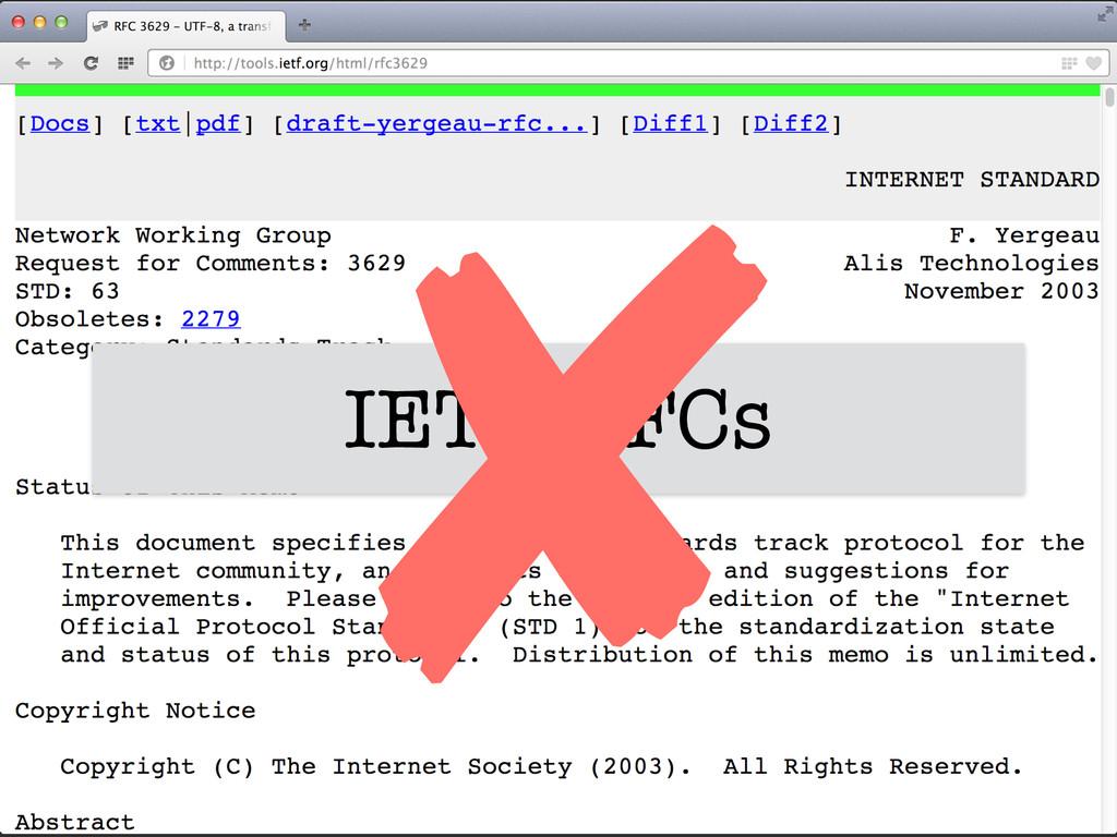 IETF RFCs ✘