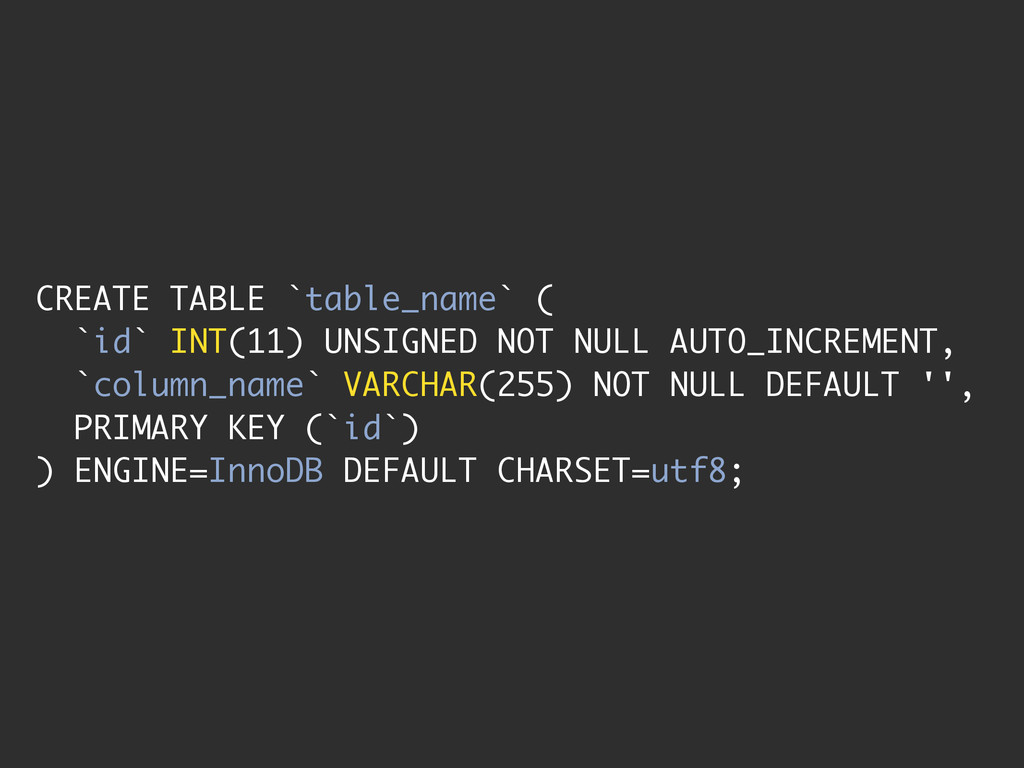 CREATE TABLE `table_name` ( `id` INT(11) UNSIGN...