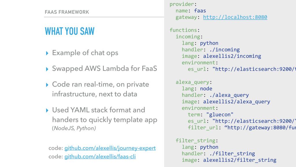 FAAS FRAMEWORK WHAT YOU SAW code: github.com/al...