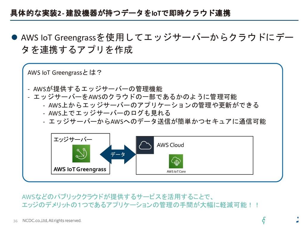 具体的な実装2 - 建設機器が持つデータをIoTで即時クラウド連携 ⚫ AWS IoT Gre...