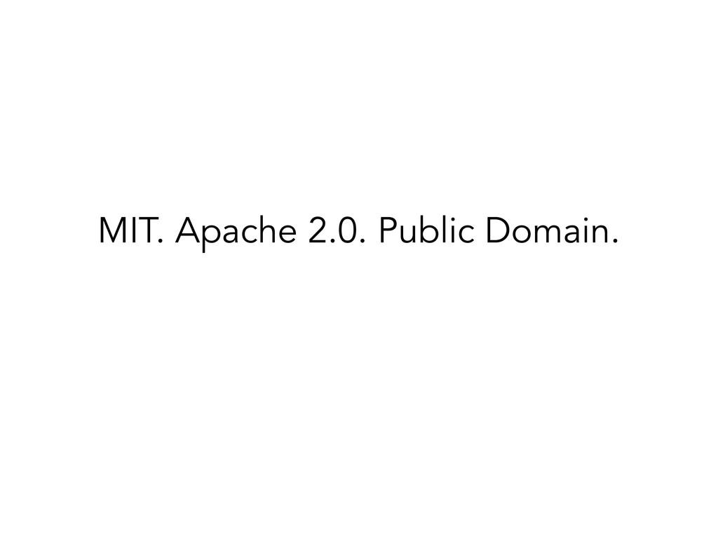 MIT. Apache 2.0. Public Domain. ! ✓