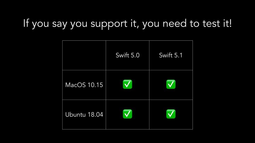 Swift 5.0 Swift 5.1 MacOS 10.15 ✅ ✅ Ubuntu 18.0...