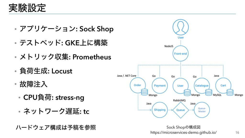 16 ࣮ݧઃఆ ɾΞϓϦέʔγϣϯ: Sock Shop ɾςετϕου: GKE্ʹߏங ɾ...