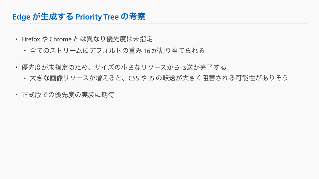 Edge ͕ੜ͢Δ Priority Tree ͷߟ • Firefox  Chrome...