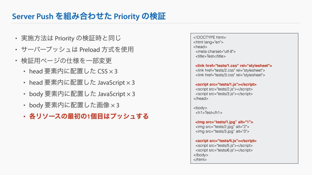Server Push ΛΈ߹Θͤͨ Priority ͷݕূ • ࣮ࢪํ๏ Priori...