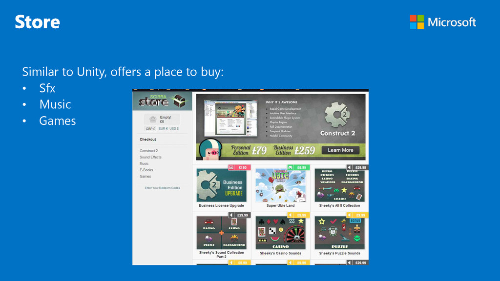 Similar to Unity, offers a place to buy: • Sfx ...