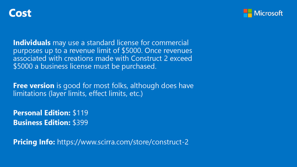 Individuals may use a standard license for comm...