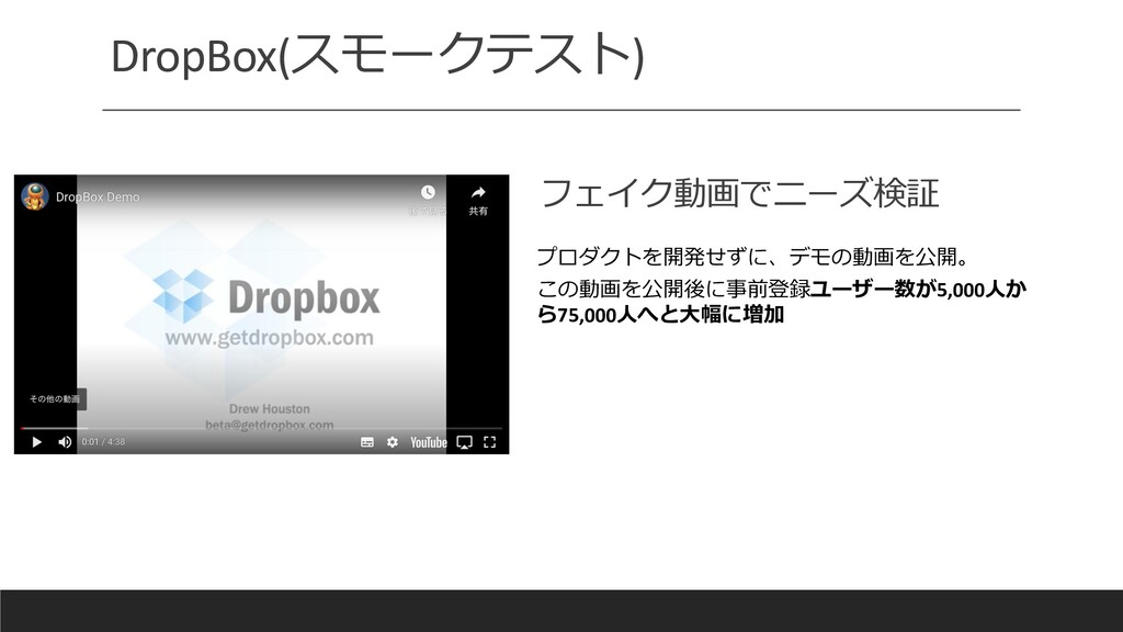 DropBox(スモークテスト) フェイク動画でニーズ検証 プロダクトを開発せずに、デモの動画...