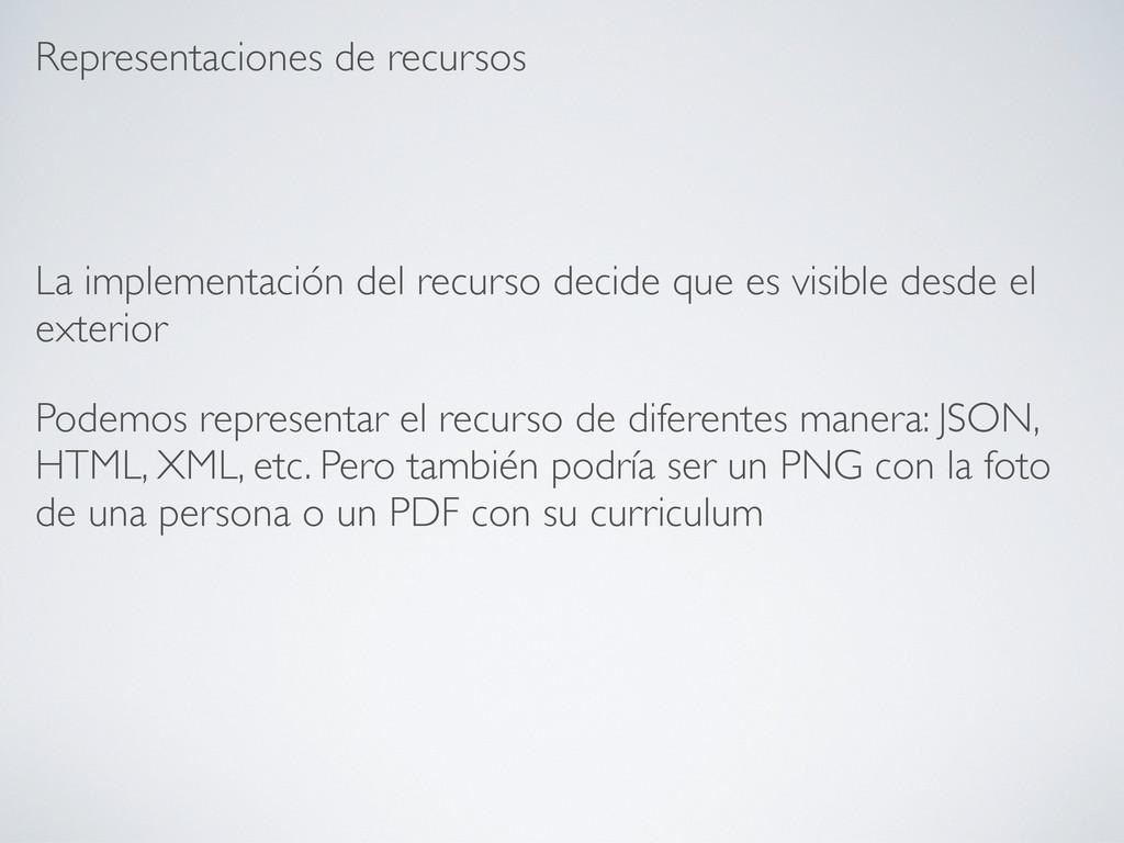 Representaciones de recursos La implementación ...