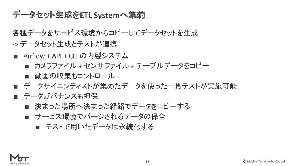 Mobility Technologies Co., Ltd. 32 各種データをサービス環境...