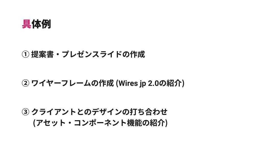 具体例 ① 提案書‧プレゼンスライドの作成 ② ワイヤーフレームの作成 (Wires jp 2...