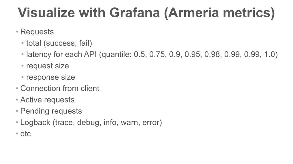 Visualize with Grafana (Armeria metrics) • Requ...