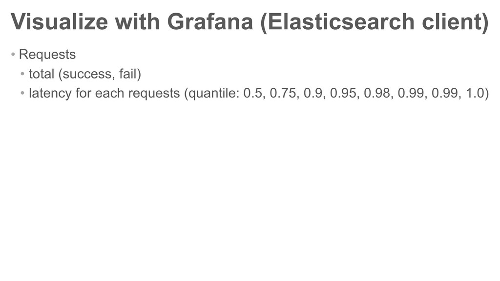 Visualize with Grafana (Elasticsearch client) •...