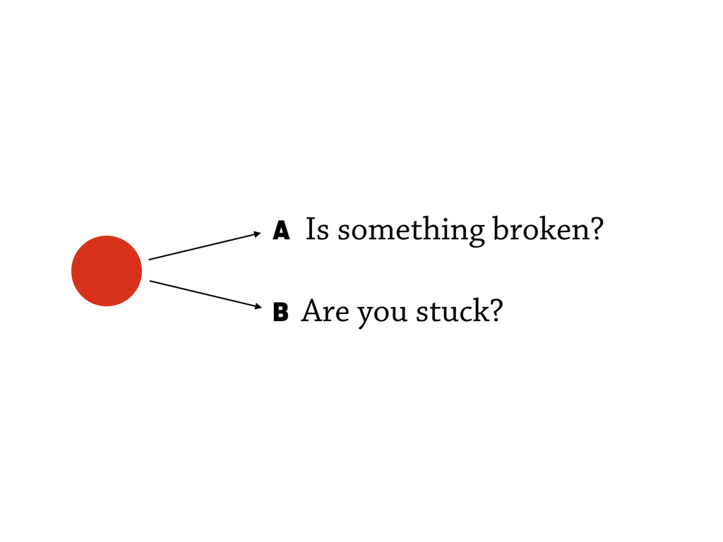 A Is something broken? B Are you stuck?